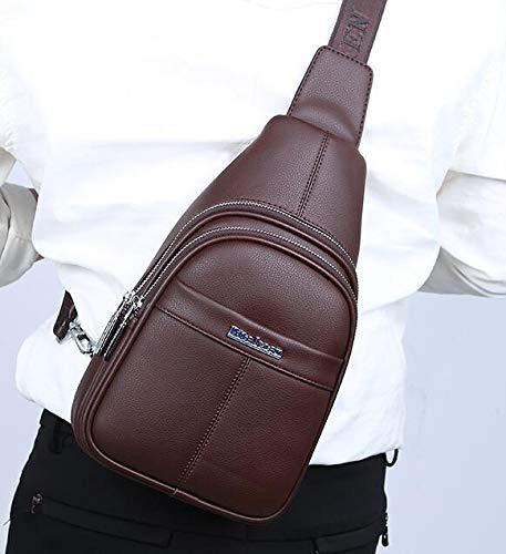 Épaule Dos marron Bandoulière Plein Air Sports Hommes Pu Cuir Pour Sac Multifonction Minisu Mode En À Ancien De 4xwnq6Tp1Z