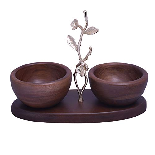 Decozen The Milli Collection Acacia Wood Two Small Nut Bowls Branch with Milli Flowers and Leaves in Gold Finish for Candies and Nuts Home Décor Item Wood Nut Serving Bowl 11.14 x 4.61 x 8.27 inches ()