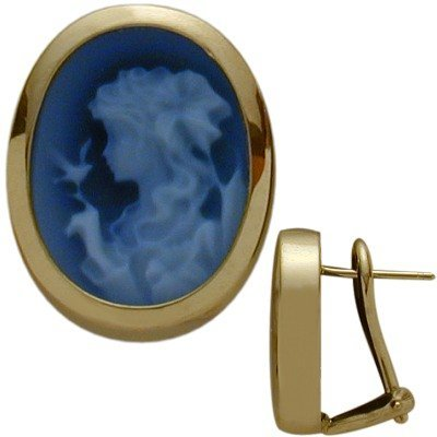 (14K Yellow Gold Blue Agate Cameo)