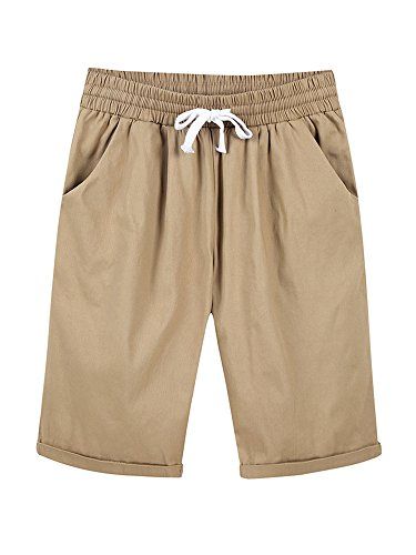 Women's Elastic Waist Casual Knee Length Curling Bermuda Shorts with Drawstring Khaki - - Shorts Women Pleated Khaki :