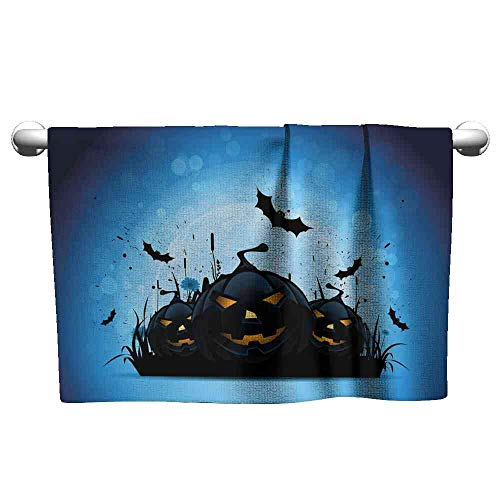 Jiahong Pan Towel Halloween,Scary Pumpkins in Grass with Bats Full Moon Traditional Composition,Black Yellow Sky Blue Towels Bathroom Size:W27.5 xL12]()