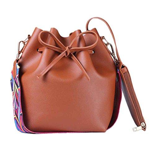 Mode coloré Strap femmes Seau Sac fille Vintage Sac à bandoulière Messenger dames PU cuir grand sac à main Capacité Arichtop Marron