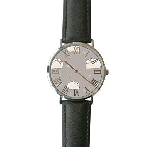 (JISJJCKJSX Gray Angora Bunny custom watches quartz watch stainless steel case)