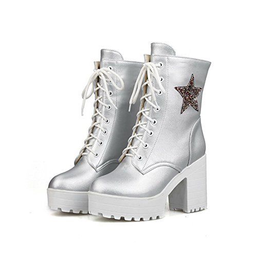 AgooLar Women's High-Heels Soft Material Low-top Solid Lace-up Boots Silver x8AisM3m