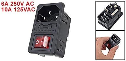 amazon com urbest power socket switch iec 320 c14 red light rocker rh amazon com