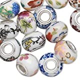 Large Hole,beads Porcelain Silver-plated Brass Grommet, Assorted White, Multicolored, 14x9mm Rondelle with 4-4.5mm Hole. Pkg of 28