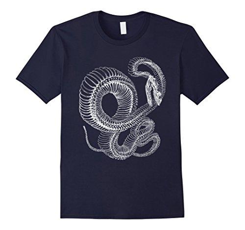 Mens Snake Skeleton T-Shirt - Reptile Animal Boa Illustration Medium ()