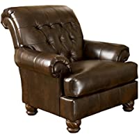 Ashley Furniture Signature Design - Fresco Accent Chair - Tufted Back - Grand Elegance - Antique Brown