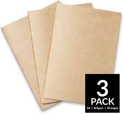 Cuaderno de dibujo de tapa suave para principiantes. Papel de dibujo blanco de 165 g/m², tamaño A3 y A4. Para técnicas mixtas Pack of 3 - A4, Kraft: Amazon.es: Hogar
