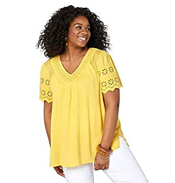 Amazon.com: Avenue Crochet Trim - Camiseta para mujer con ...