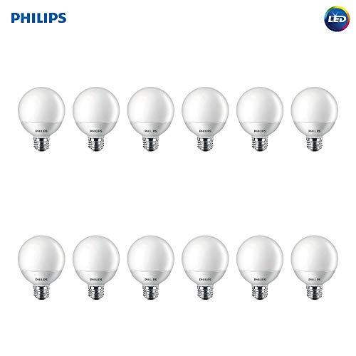Philips LED Non-Dimmable G25 Frosted Light Bulb: 500-Lumen, 2700-Kelvin, 6.5-Watt (60-Watt Equivalent), E26 Base, Soft White, 12-Pack (Renewed)