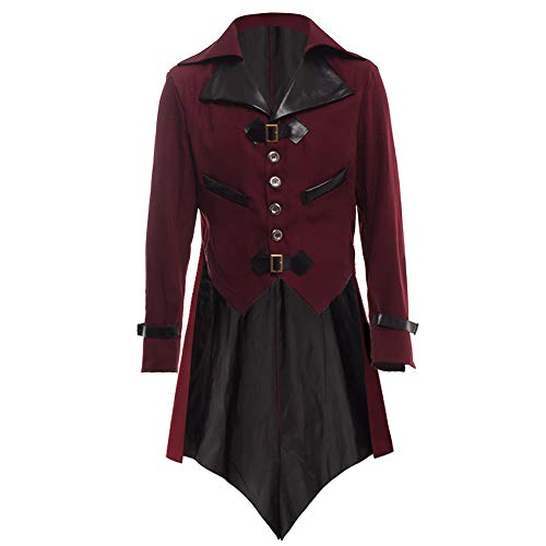 BLESSUME Gothic Victorian Tailcoat Steampunk VTG Coat Jacket Halloween Cosplay Costume (Wine Red, L)]()