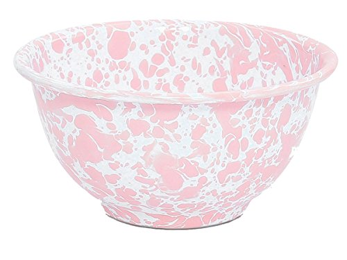 Enamelware Footed Bowl, 16 ounce, Pink/White Splatter