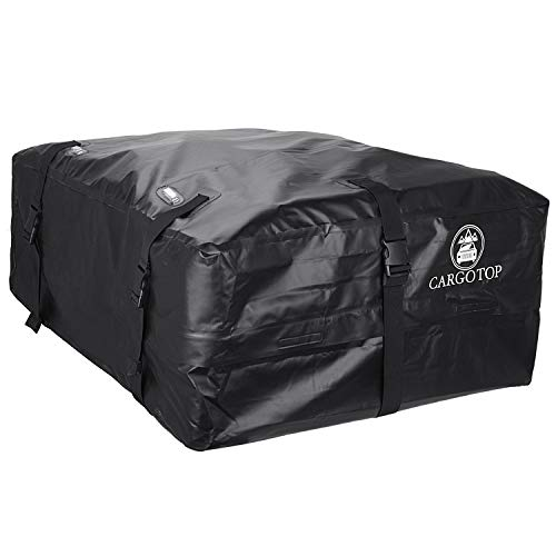 (CARTOP Cargo Bag, Waterproof Cargo Bag Easy to Install Soft Rooftop Luggage Carriers Works with or Without Roof Rack (15 Cubic feet) (Black))