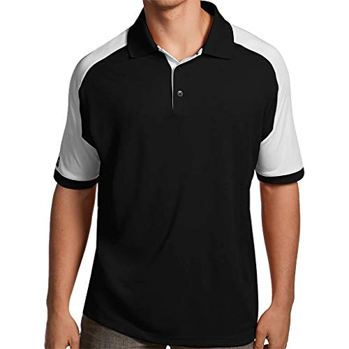 (Antigua Essentials Mens Golf Polo Shirt with Color Block Details Black/White Medium)