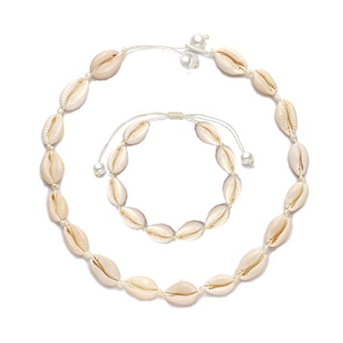 VUJANTIRY Cowrie Shell Choker Necklace for Women Hawaiian Seashell Pearls Choker Necklace Statement Adjustable Cord Necklace Set (White#5)]()