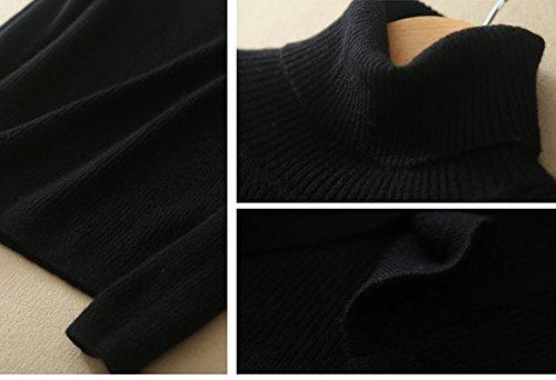 LALA IKAI Suéter Jerséy Slim de Cuello Alto para Mujer Negro