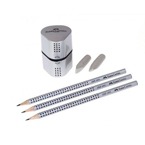 Faber-Castell 117098 - Schreibset GRIP 2001, Inhalt: 3 Bleistifte, 2 Radierer, 1 Spitzer, silber