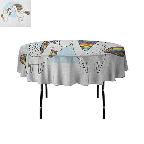 DouglasHill Unicorn Waterproof Anti-Wrinkle no Pollution Pegasus Horses with Manes in Rainbow Colors and Wings Sweet Mythological Kids Tale Table Cloth D67 Inch Multicolor