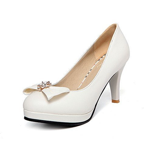 Balamasa Dames Spun Goud Bowknot Glas Diamant Platform Geïmiteerd Lederen Pumps-schoenen Wit