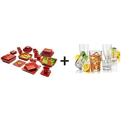 Click for 10 Strawberry Street Nova Square Banquet 45-Piece Dinnerware Set, Red Bundle