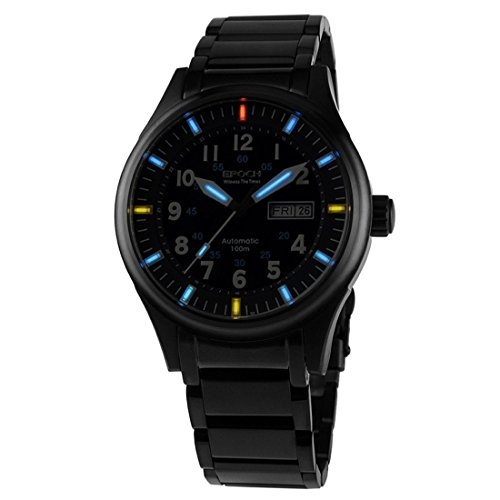 EPOCH 7009G Waterproof 100m tritium Gas Blue Luminous Steel Strap Black case Mens Business Automatic Mechanical Watch (Watch Epoch)