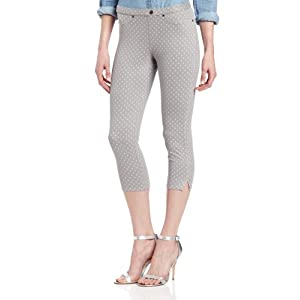 HUE Women's Swiss Dot Jean Capri