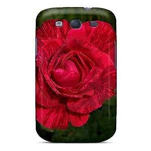 [eog13741cnYu]premium Phone Case For Galaxy S3/ Striped Red Rose Tpu Case Cover