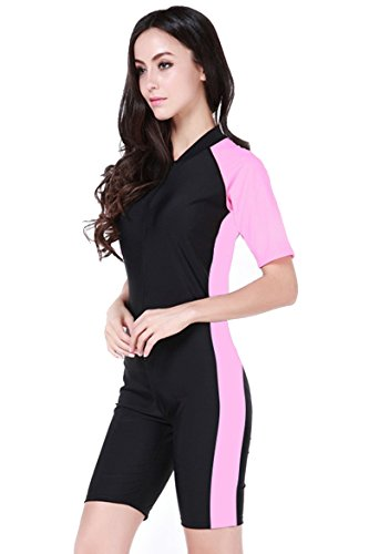 Women's One-piece Surf Swim Wet Suit Short Sleeve Rashguard (Pink Black-Women) Asian XL = US L (Surf Suits)