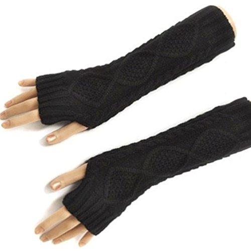 HITOP Damen Accessory Trendige Quilted Thread gestrickte fingerlose Armstulpen Feinstrick lang Pulswärmer Handwärmer Stulpen (schwarz)