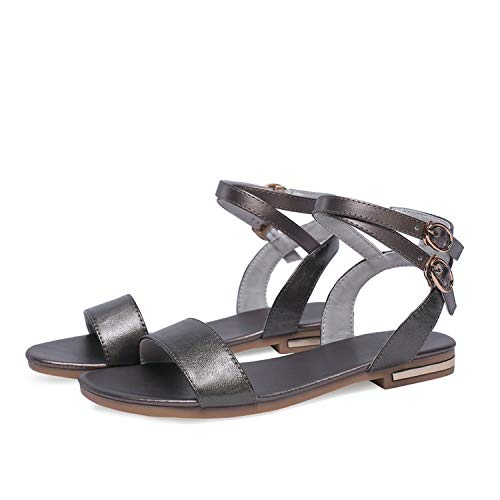 Women Sandals Square Low Heel Champagne PU Leather,Champagne,7