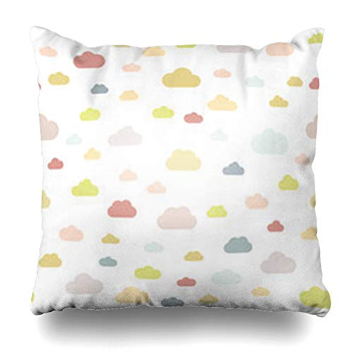 Alfredon Throw Pillow Covers Cloud Pattern Clouds Pastel Colors Flat Abstract Baby Drawing Air Atmosphere Children Cloudlet Nature Pillowcase Square Size 16 x 16 Inches Home Decor Cushion Cases