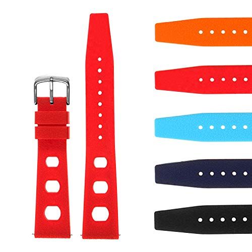 - StrapsCo Vintage Dive Style Silicone Rubber Rally Watch Band - Quick Release Strap - 18mm 19mm 20mm 21mm 22mm