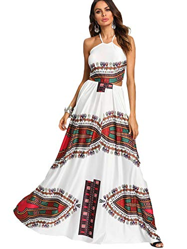 Floerns Women's Boho Print Sleeveless Halter Neck Backless Beach Party Maxi Dress White - Gown Halter Print
