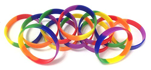 1 Dozen Multi-Pack Rainbow Pride Wristbands Silicone Rubber Bracelets (Adult 8