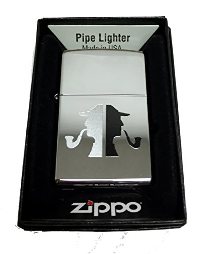 Zippo Pipe (Zippo Custom Lighter - Classic Detective Pipe Man Silhouette - Regular High Polished)