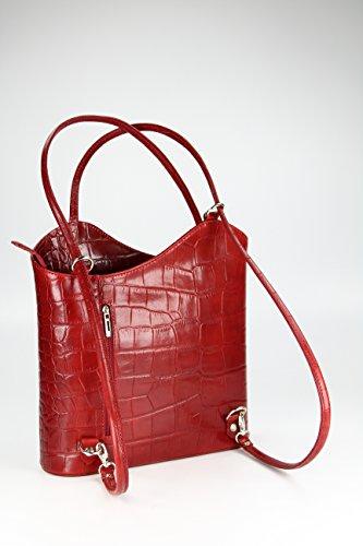 BELLI ital Bolso de piel 2 en 1, para mujer, mochila, bolso de hombro, 28 x 28 x 8 cm (anch. x alt. x prof.) Rot kroko