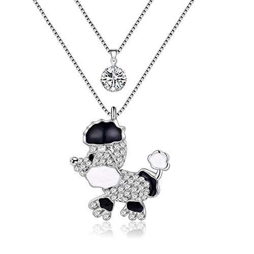 AISHIPING Puppy Poodle Dog Necklaces Pendants Rhinestone Long Chain Collar Animal Souvenir Jewelry