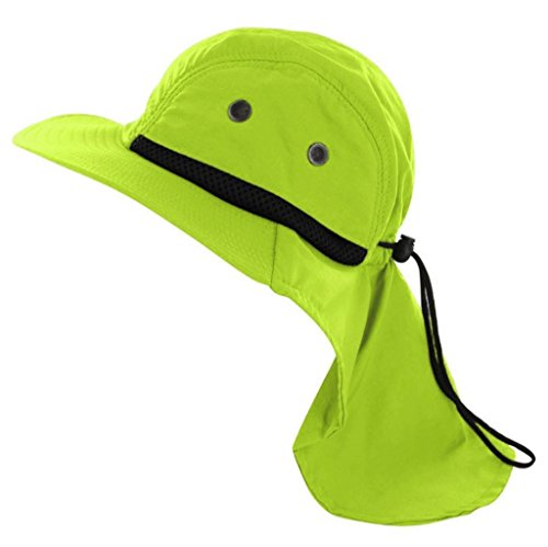 Bucket Sun Flap Bonnie Snap Hat Brim Neck Ear Cover Cap Fishing Hiking Hunting (Neon Lime)]()