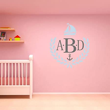 personalized initial name wall decal nautical children name wall