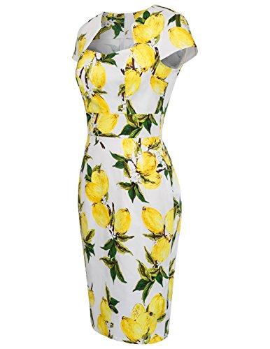 Cap CL7597 Vintage Cotton Fr Dress Pencil Sleeve Spandex Retro Cocktail Dress Floral 22 qFwFa8rt