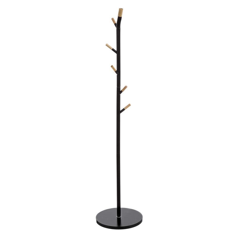 BAKAJI Attaccapanni Appendiabiti a Piantana In Legno Bambu' MDF e Acciaio 6 Ganci Altezza 175cm Design Moderno Colore Nero e Bamboo Naturale