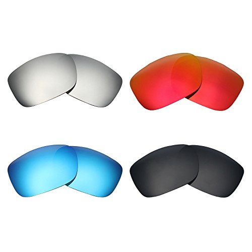 MRY 4 Pairs POLARIZED Replacement Lenses for Oakley TwoFace Sunglasses-Stealth Black/Fire Red/Ice Blue/Silver Titanium