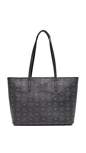 MCM Women's Anya Zip Top Shopper Tote, Black, One Size by MCM