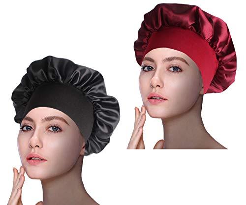 1Pack/2Packs/4Packs Luxury Wide Band Satin Bonnet Cap Comfortable Night Sleep Hat Hair Loss Cap
