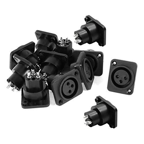 (QMseller Audio XLR Female Jack Panel Mount Socket 12 Pcs Black Silver Tone)