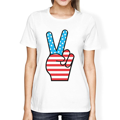 American Shirt Printing Femme Manches Flag Womens shirt Peace White Taille T Courtes 365 Unique Fw86O