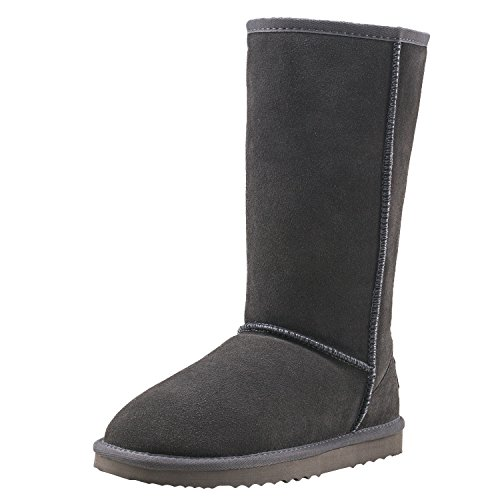 Gray Leather Boots - AUSLAND Women's Classic Leather Water-Resistant Snow Boots 5115 Gray 6.5 B(M) US 37