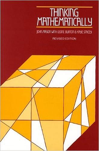 Book Thinking Mathematically by J. Mason (1982-01-11)