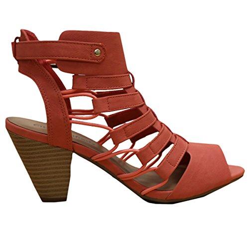 Stad Geclassificeerd Womens Mode Ontzagwekkende Gladiator Strappy Dikke Blokhak Synthetische Licht Gewatteerde Binnenzool Sandalen Zalm Nubuck